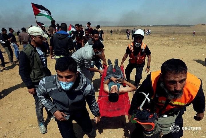 أكثر من 60 إصابة بالرصاص في مسيرة العودة شرقي قطاع غزة في يوم النكبة